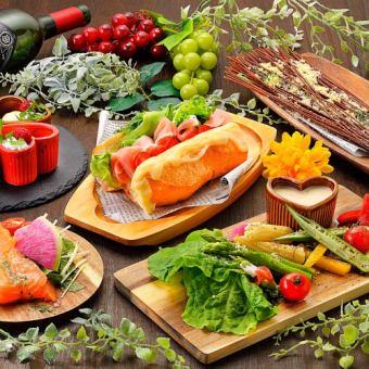 """""""Lunch""""◆ 건강한 야채 버킷 샌드 런치 ♪ <120 분 음료 뷔페> [5 품 2000]"""