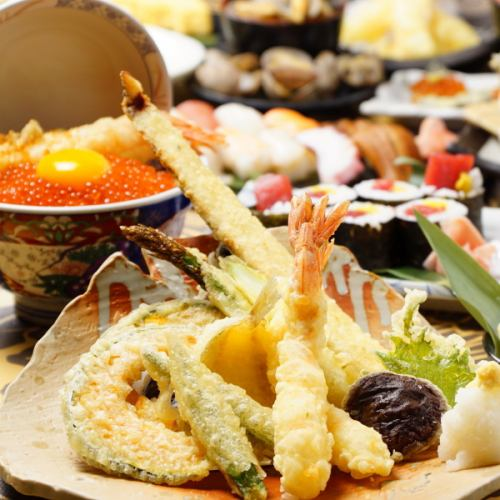 天ぷら、寿司など酒の肴は1階からお持ちします!