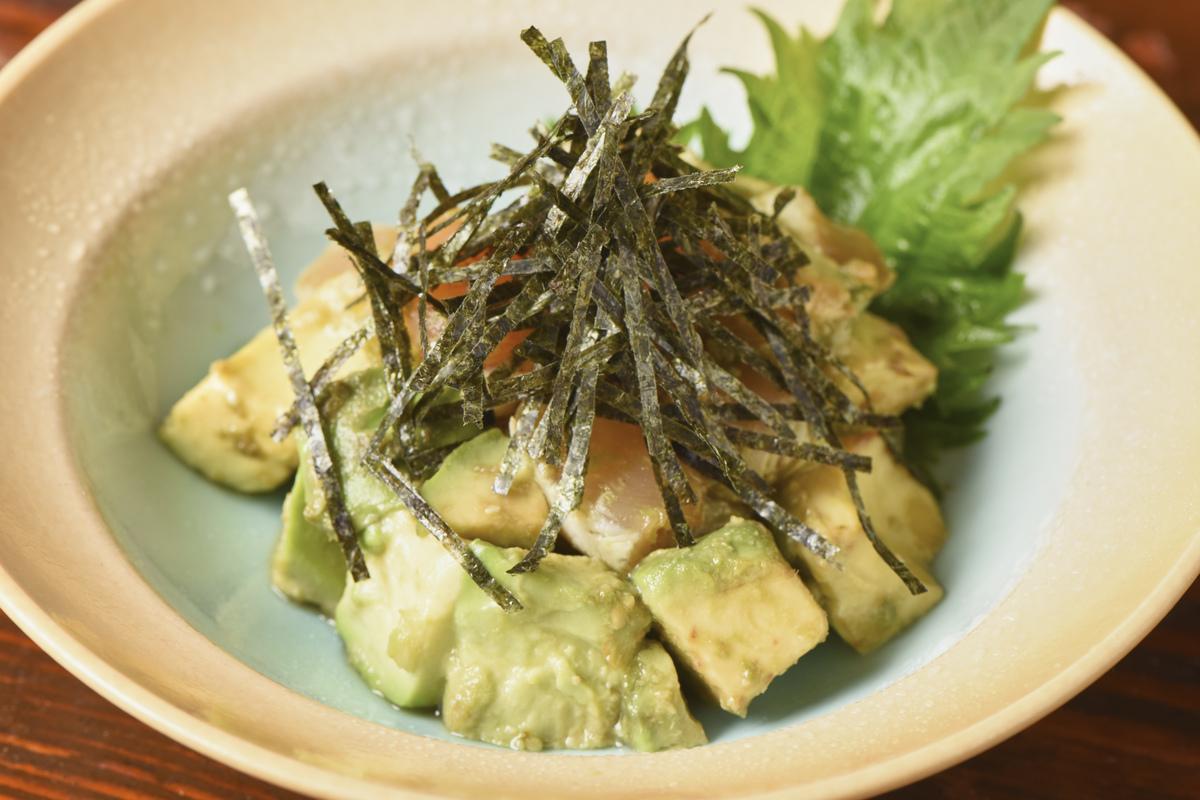 Sasami avocado with wasabi sauce