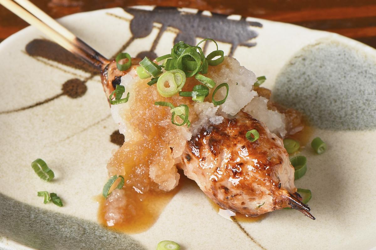 Homemade tsukune grilled ponzu