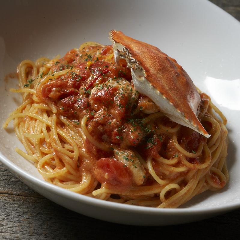 ワタリ蟹のトマトパスタ Tomato Pasta with Blue Crab