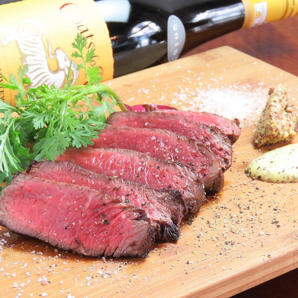 大人気!牛もも肉のステーキ[コース]全8品+110分[飲放]⇒4000円