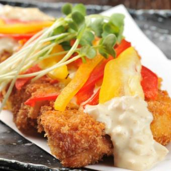 Homemade tartar of chicken soba