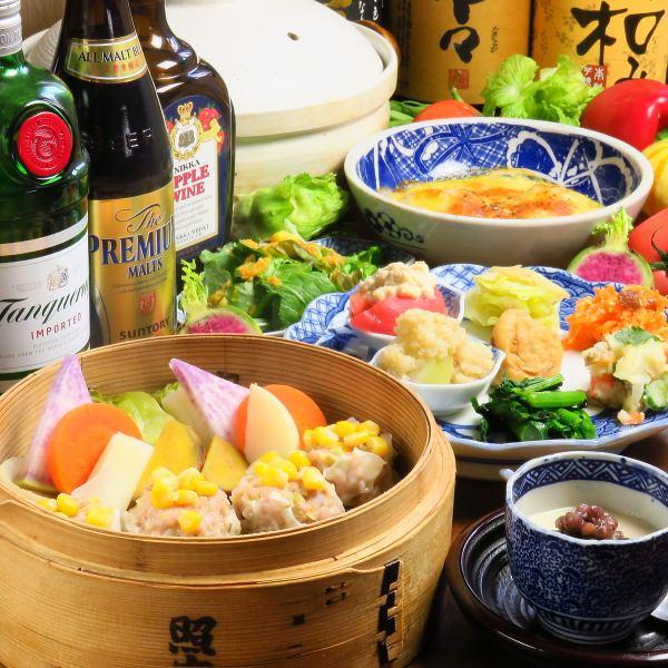 盛りだくさんでヘルシーな料理で楽しもう!飲み放題付き宴会コース☆3800円☆2名様以上☆2時間☆