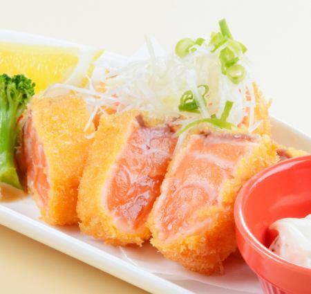Salmon rare cut in raw