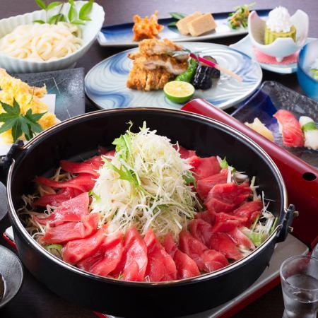 利潤度展望!金槍魚suki鍋鍋和特殊壽司壽司套餐<50種清酒50分鐘飲用> 7500日元⇒6000日元
