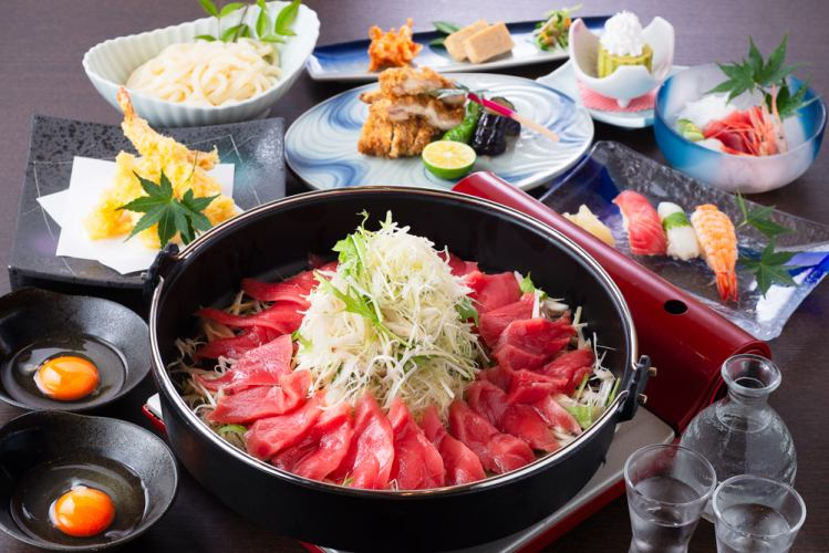利潤度展望!金槍魚suki壽喜燒鍋和特別抓壽司套餐<50種清酒> 120分鐘飲用> 7500日元⇒5500日元