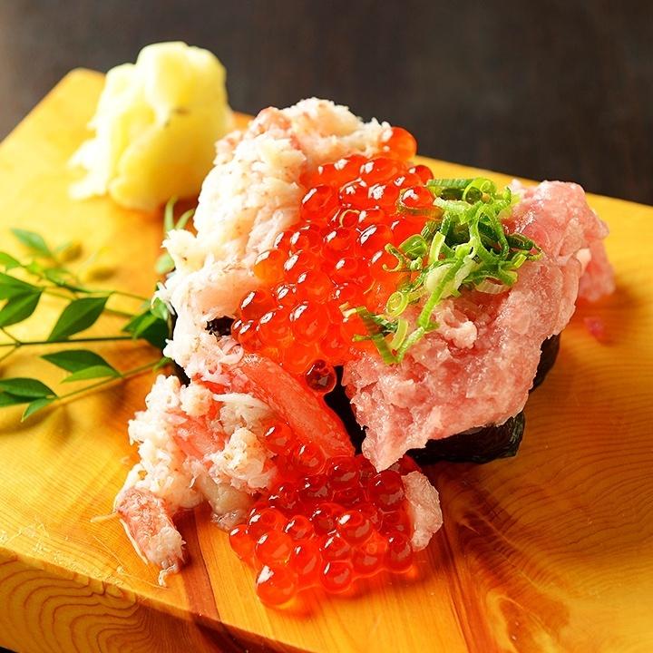 Men surprised overflowing sushi