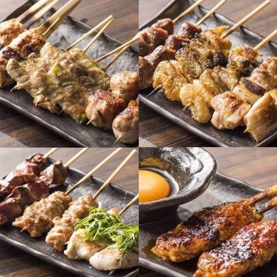 【엄선 된 국산 닭] 대산 닭 · 니시키 爽鶏 사용! 육즙이 균형 잡힌 닭 꼬치에 입맛! 1 개 120 엔 (세금 별도)보다!
