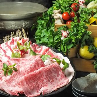 "Carefully selected A5 rank black hair Japanese beef ribulose × exquisite six black and white pig shabu shabu ""snow"" course more than 60 kinds 2 H [drinking] \ 5000"