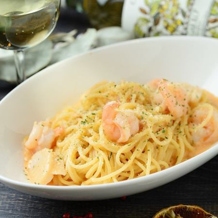Shrimp and scallops with tomato cream pasta
