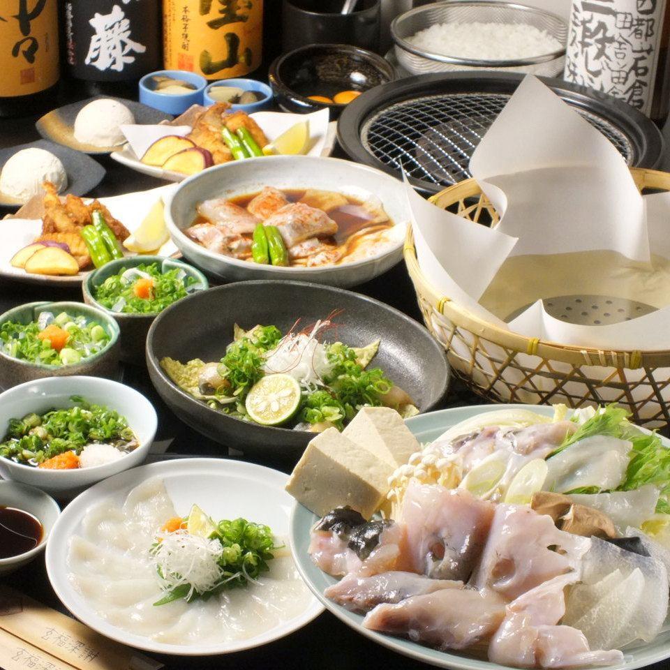 梅田お初天神でふぐを…コース料理もご用意しております。