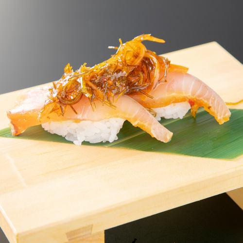 松前漬けにぎり/しめ鯖のバッテラにぎり/あぶり寿司3種