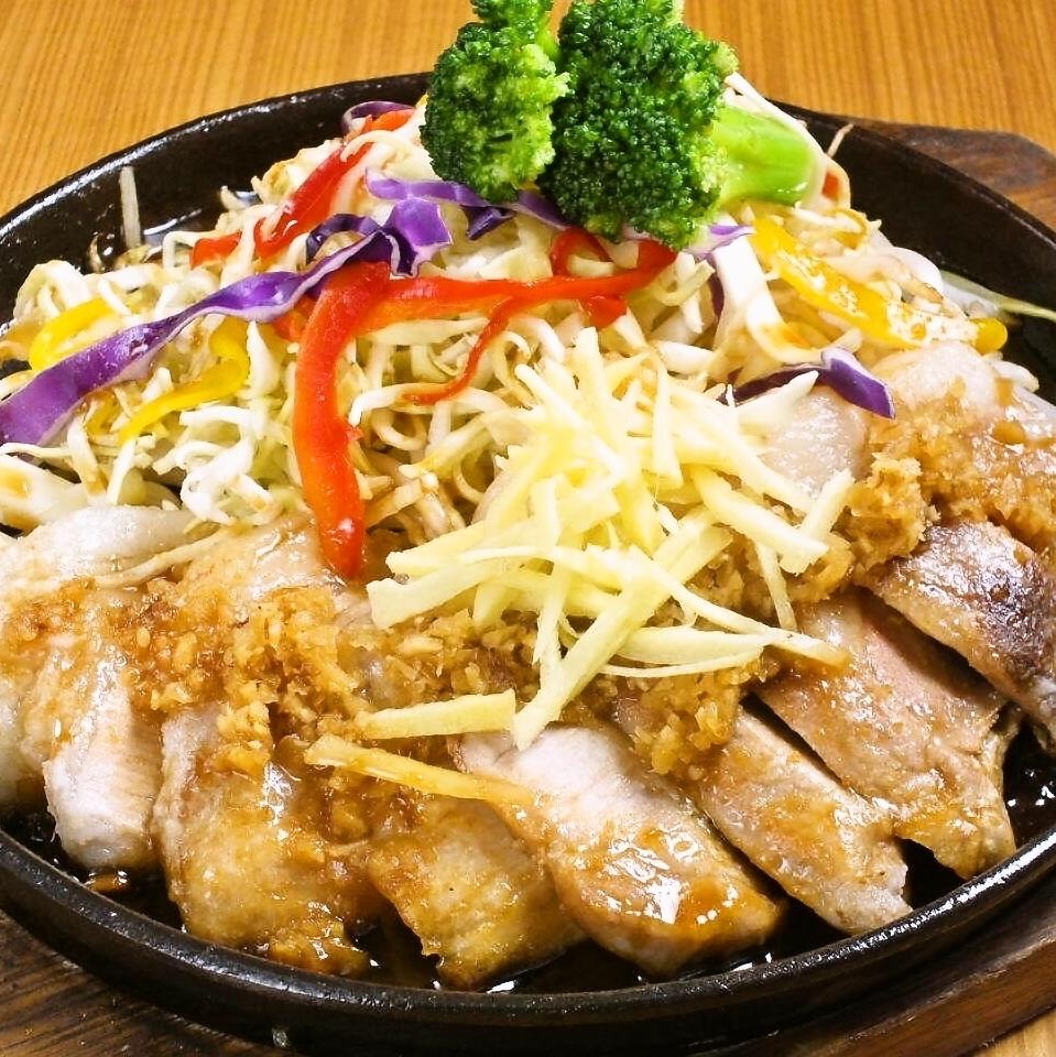 Steel plate gogaki with thick cut pork loin