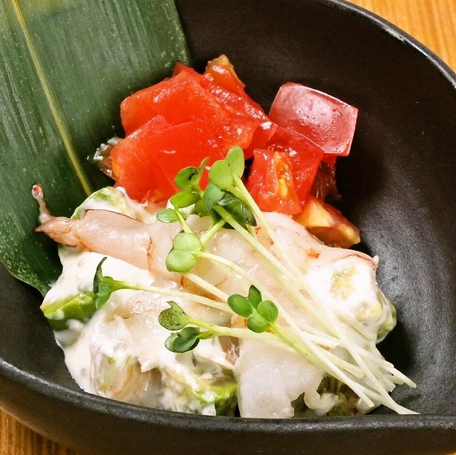 Japanese tartar of shrimp and avocado