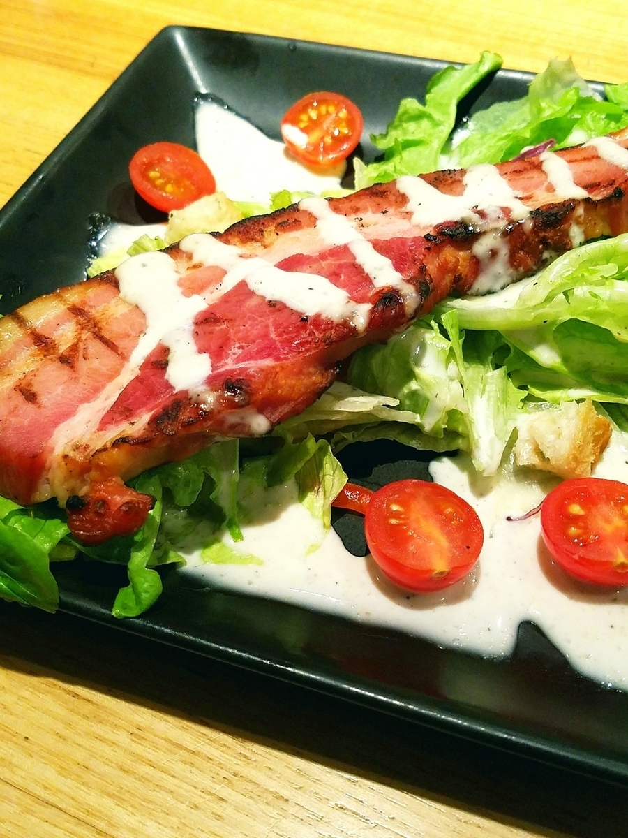 Thickly sliced bacon steak salad tailoring