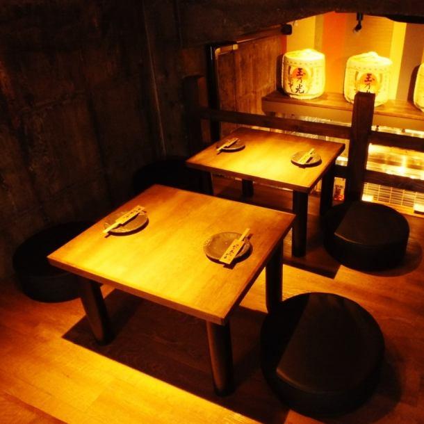 少人数の宴会にもオススメ!ゆったり足を伸ばせる座敷席で料理を楽しんでいただきながら、日本酒で乾杯♪