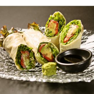 Yuba's raw spring roll ~ Fresh fish and raw vegetables served ~