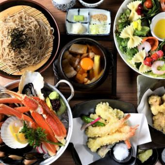"Tsubaki ""Tsubaki"" course Japanese style seafood platter and Nishiki Shochu 【Specialty Tempe】 2 hours with all you can drink 3,980 yen"