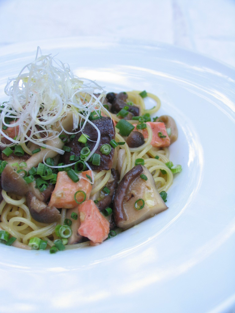 Japanese style pasta with salmon and various mushrooms