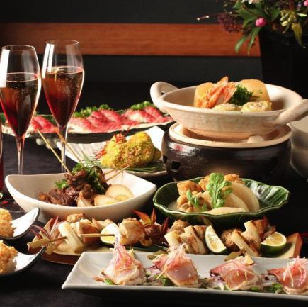 """【Number of groups limitation】 ★ Popular cuisine full pack! 7 specialty dishes """"Kyoto Komachi course"""" with unlimited drinks 5980 yen (tax included)"""