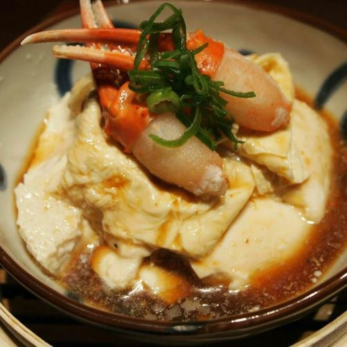 Kyubei with tofu with fresh crab and raw yuba