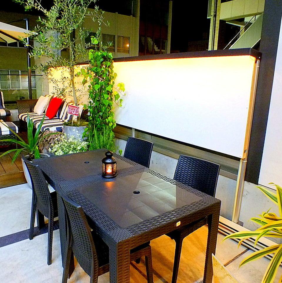 Trendy terrace seat ★ ◎ also in conjunction