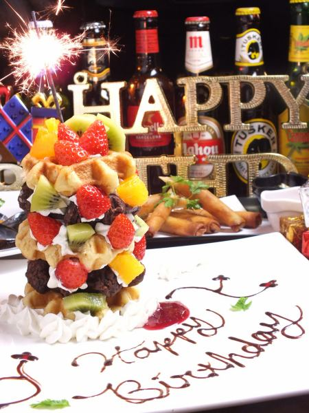 【Waffle Tower included! Birthday Party Course】 2.5H 7 items with drinking water 3900 yen