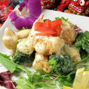 Shrimp with mayonnaise sauce