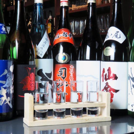 県内外の日本酒を豊富に取り揃えております!利き酒セットもあり