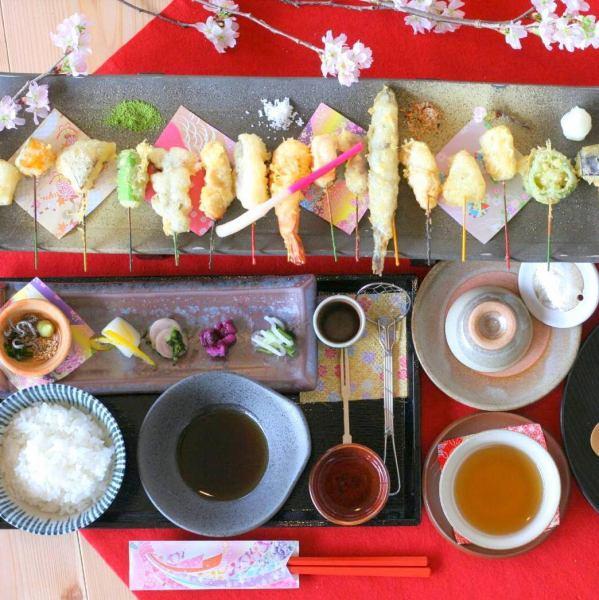 16種顏色的米飯天婦羅設置菜單