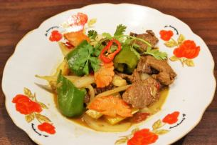 Stir-fried spicy goat