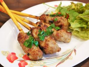 Meatball grilled Vietnamese stalls