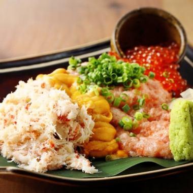 Spill Sushi ~ Crab · Ikura · Uni · Negrodro ~