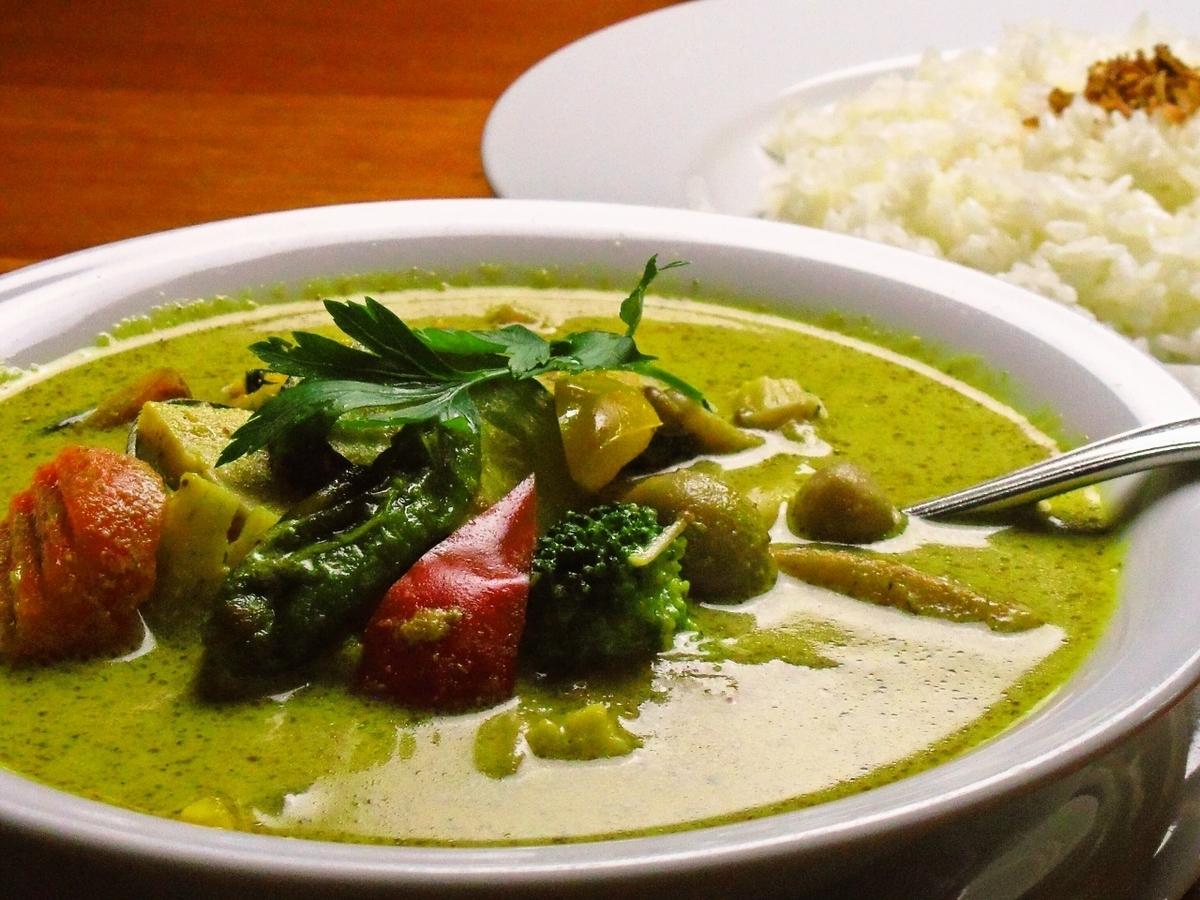 虾和菜泰国绿色咖喱