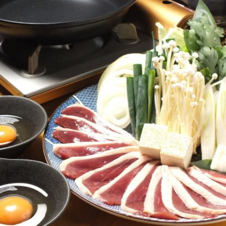 Welcome pots ♪ Duck sukiyaki course ◆ All 9 items such as sashimi and unglazed cod roe and cereal dumpling 2 hours with all you can drink ◆ 6000 yen