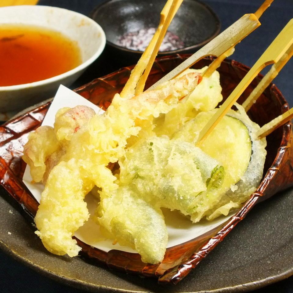 京都蔬菜和海鮮天婦羅串拼盤
