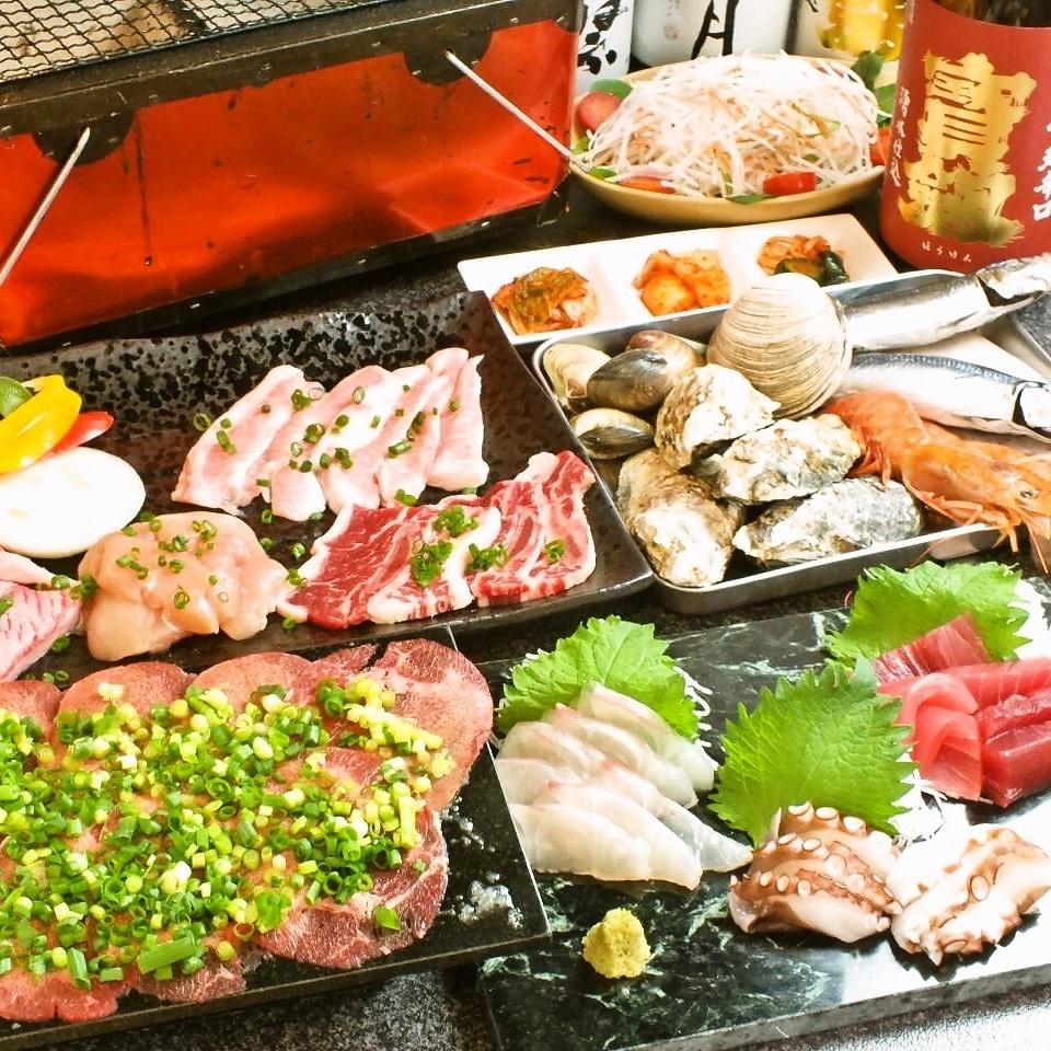 【宴會人氣1號】總共10項,黑毛和牛x鮮魚使用季節W課程2H飲酒5000日元(不含稅)
