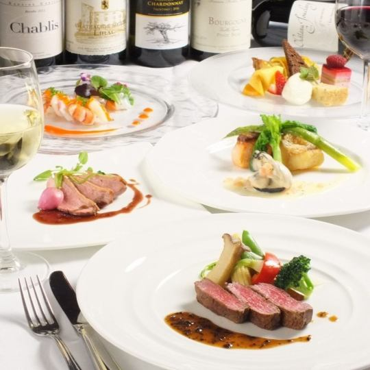 시장에서 매입 일일 생선 요리와 선택할 수있는 고기 요리가있는 총 8 종 + 식후의 음료가있는 풀코스 ◇ \ 5000