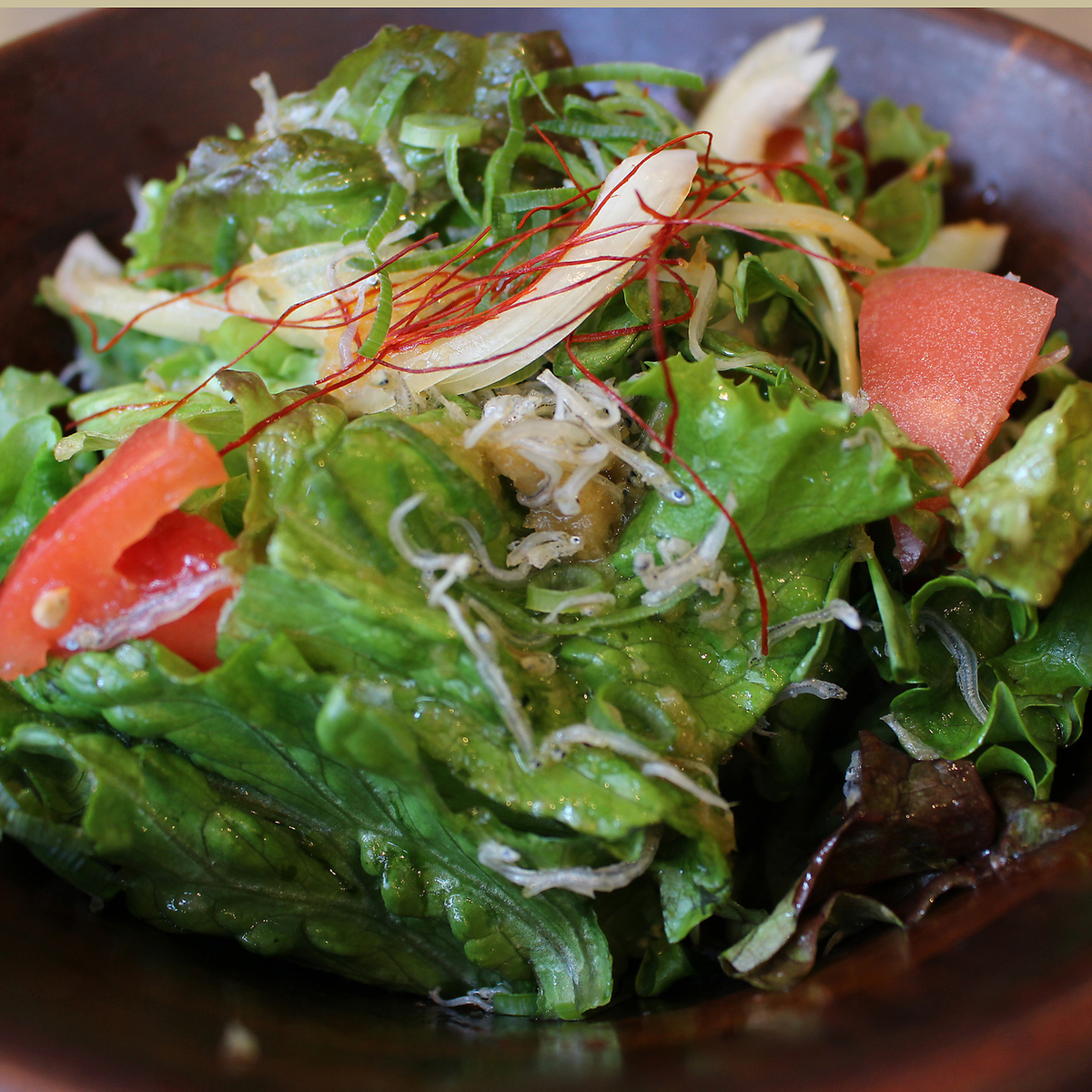 Japanese style salad with tomato cream and chestnut