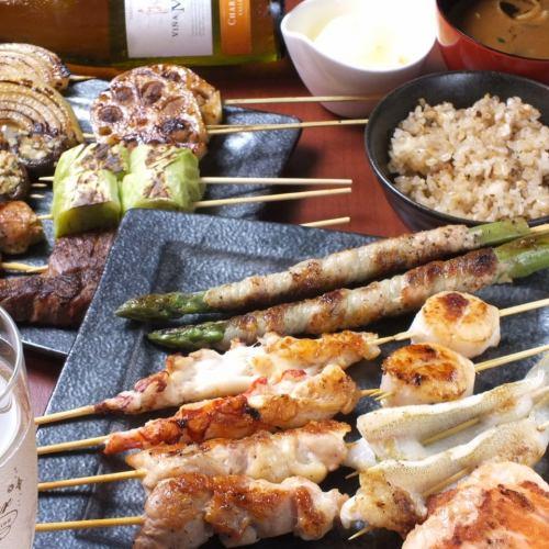 【週年紀念日和生日】90分鐘飲酒!【鵝肝醬】【專業侏儒Skewaki套餐】5500日元