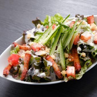 Homemade smoked bacon Caesar salad