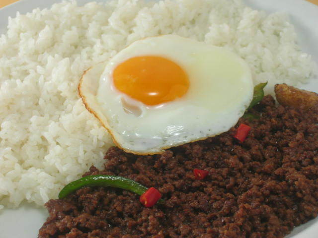Stir-fried rice with beef gapao