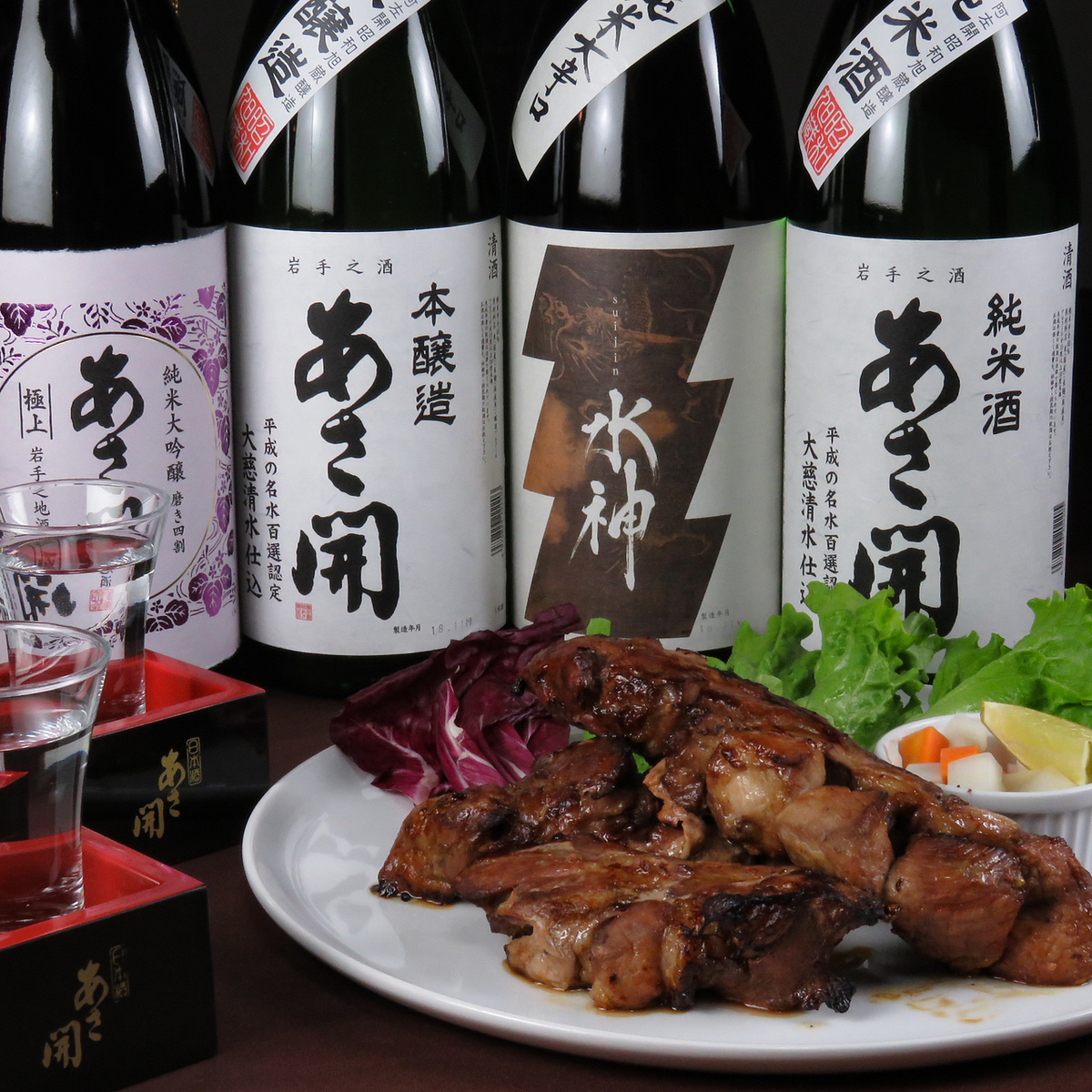 Cooking using prefecture-made ingredients and freshly made sake and brewed beer