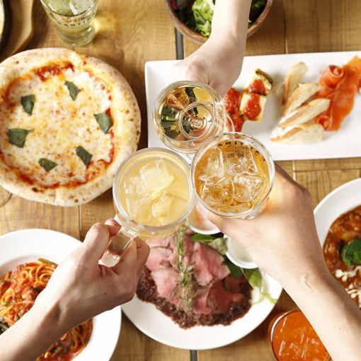 烤牛肉和比薩餅等8種菜餚♪無限暢飲!!【女子協會套餐】4000日元→3500日元