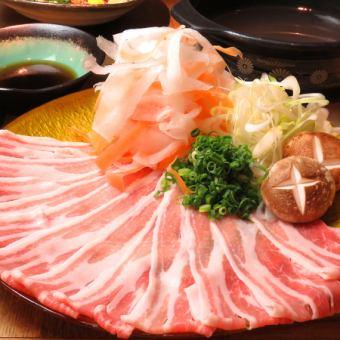 ≪料理のみ≫【黒豚しゃぶしゃぶコース】鮮魚刺身盛り付全5品⇒4000円