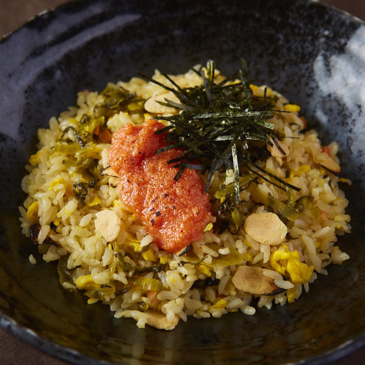 明太子と高菜のガーリック焼き飯