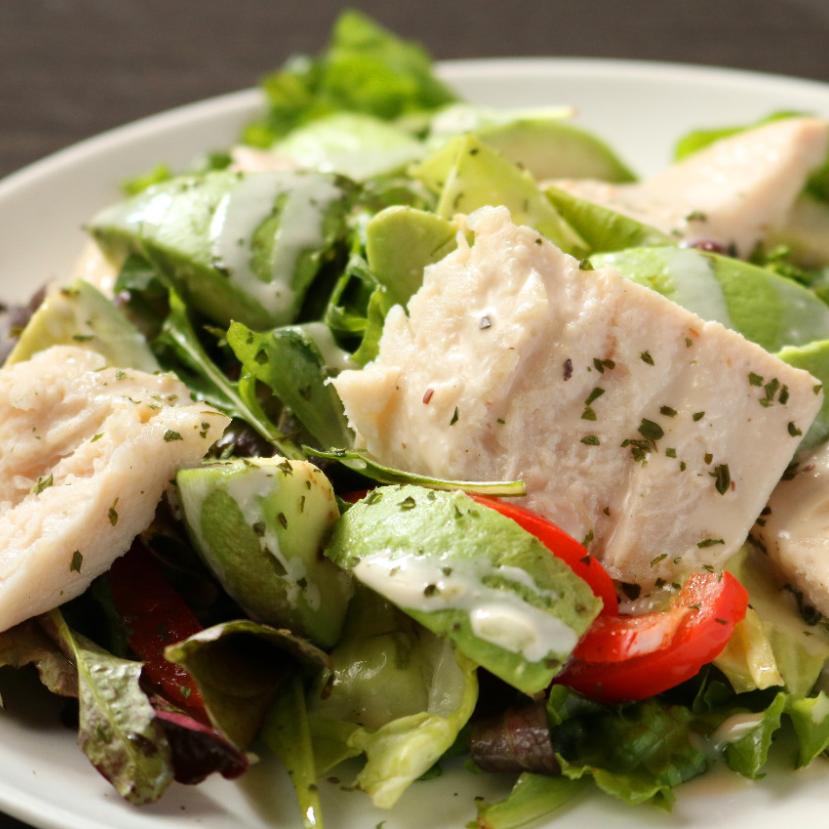 Avocado and chicken ham's beautiful skin salad