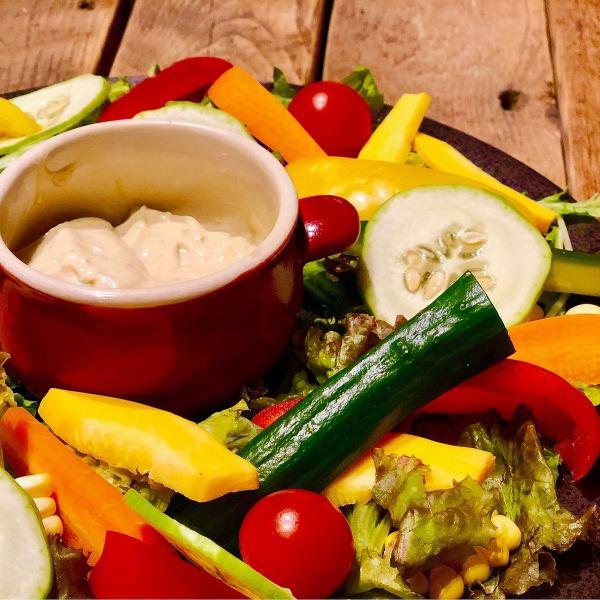 Healthy ground vegetables Bagna cauda