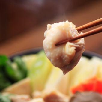 1日3組様限定≪贅沢!軍鶏鍋コース≫軍鶏のムネ肉焼きなど4500円(税抜)